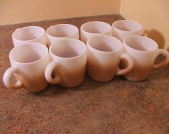 Set of Eight (8) Vintage 1950s Hazel Atlas Two-Tone Mocha Fade Coffee Mugs
