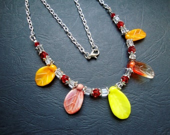 Necklace yellow and orange leaves