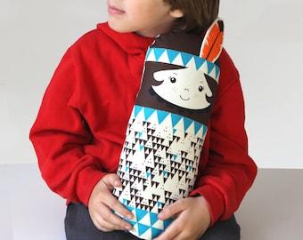 Native American Indian Scandinavian Retro doll mini cushion turquise  geo triangle