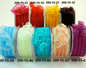 """May Arts 5 yards 1.5"""" Sheer / Pull Flower / Wired Ribbon 399"""