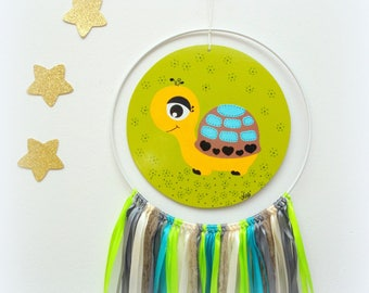 Nursery turtle mobile, Nursery mobile, baby mobile, Nursery painting, Painting for kids, Dreamcatcher for baby, Baby dream catcher