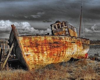 Old Boat - Old Boat Photo - Boat - Boat Photo - Rust - Rust Photo - Landscape - Digital Photo - Digital Download - Fine Art Photography