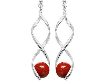 Swirl silver plated - red Jasper earrings