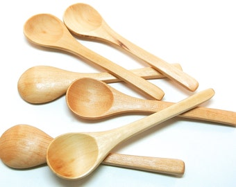 6 Small Wood Spoons, Mini Wooden Spoons for Honey and Bath Salt Jars, Seasonings, Jelly and Jam, Mixes