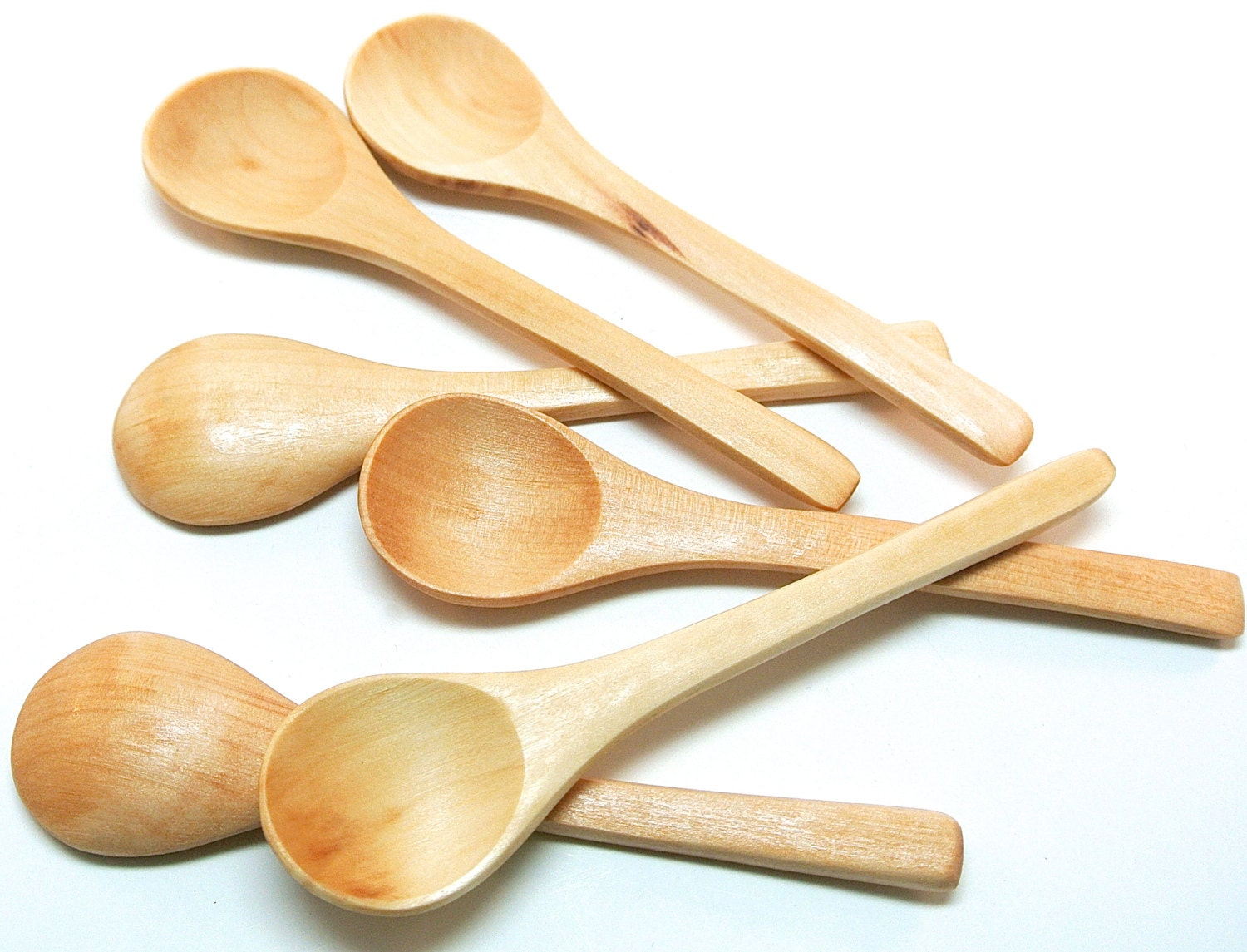 6 Small Wood Spoons Mini Wooden Spoons for Honey and Bath