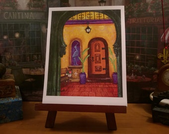 New Orleans Art / Spanish Style / Bright Colors / Hidden Alcove / Southwest Courtyard / from my Original Painting / Secrets of NOLA