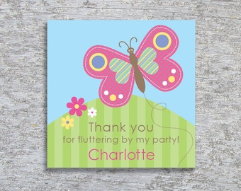 Personalized Butterfly Party Favor Tags or Stickers – DIY Printable – Happy Butterfly (Digital File)