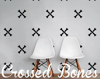 Crossed Bones Wall Decal Pack, Vinyl Wall Sticker Decal Art Pattern WAL-2221