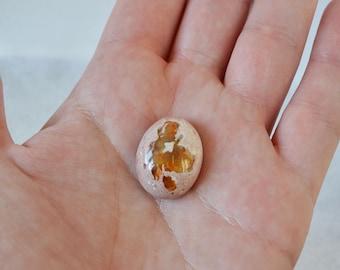 Mexican Fire Opal Cabochon, Fiery Orange Gemstone, Oval Opal Stone