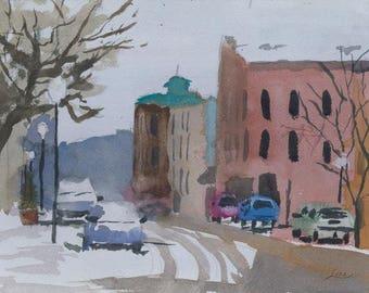 Winter Street - Original Watercolor