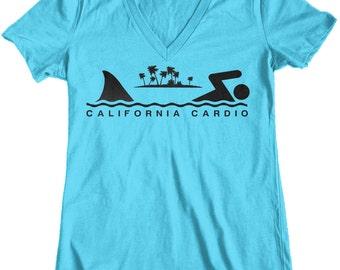 Women's California Cardio Shark Week Junior Fit V-Neck T-Shirt