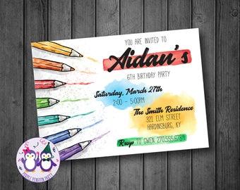Coloring Art Birthday Party Invitation
