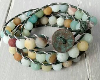 BOHEMIAN WRAP BRACELET, Leather Wrap Bracelet, Yoga Gift, Leather Bracelet, Button Bracelet, Gift for Yoga Lovers, Boho Chic, Gift for Her