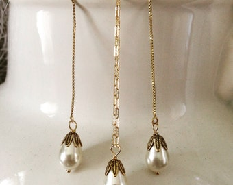 Swarovski pearl threader gold earrings with matching neclace  can be purchased separately