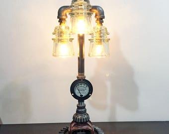 White Insulator Industrial Steampunk Lamp