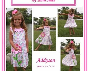 Girls Dress  Pattern / Twirly Skirt / Pocket Full of Posies / Flower Pocket / Sleeveless / Ruffle Neck / Addyson  from Trisha's Treasures.