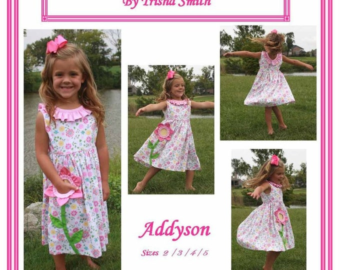 Featured listing image: Girls Dress  Pattern / Twirly Skirt / Pocket Full of Posies / Flower Pocket / Sleeveless / Ruffle Neck / Addyson  from Trisha's Treasures.