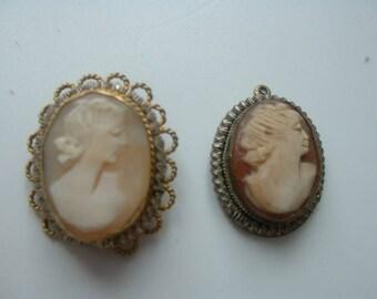 Silver gilt framed cameo brooch and vintage pendant