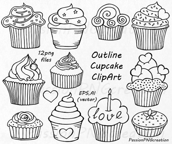 outline cupcake clipart doodle cupcakes clip art hand drawn rh etsy com Cupcake Clip Art Cupcake Clip Art Black and White