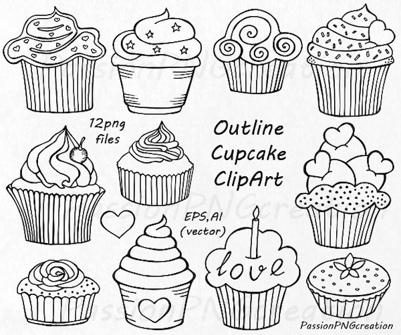 Outline cupcake clipart doodle cupcakes clip art hand drawn outline cupcake clipart doodle cupcakes clip art hand drawn cupcake clip art png eps vector clipart for personal and commercial use from voltagebd Image collections