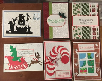 Set of 6 Christmas handmade greeting Cards with envelopes