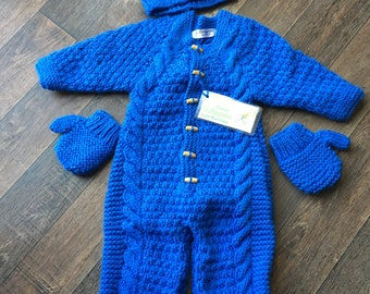 Royal Blue Aran All-in-0ne with hat & mitts. (3-6m)