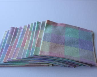 Everyday Cloth Table Napkins Set of 6 or 12 in Checkered Pastels of green, blue, yellow, pink, lavender