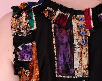 Sleeveless shell top with button and frill details in vintage Thai batik cotton