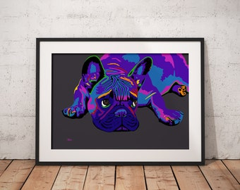French bulldog, french bulldog print, french bulldog gift, frenchie, french bulldog art, pop art, dog wall art, dog lover gift, frenchie art