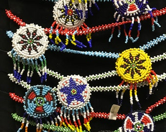 Dime store indian beaded necklace thunderbird and more 1960's