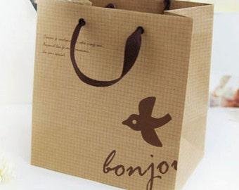 2 Bonjour Kraft Paper Shopping Bags (9 x 9.3in)
