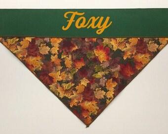 Fall Dog Bandana, Hunter Green, Golden Leaves, slip over collar dog bandana, camo dog bandana