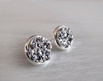 Silver Sparkly Druzy Round Stud Earrings