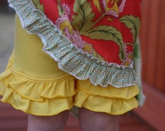 Sunshine yellow knit double ruffle shorts shorties sizes 12m - 14 girls