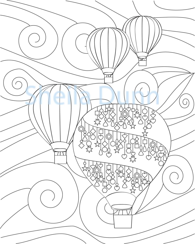 Globos de aire caliente para colorear página 8 x