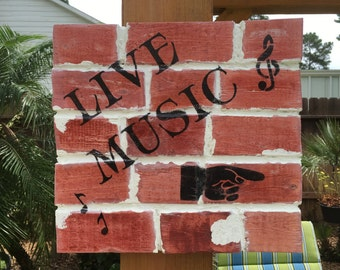 Faux Brick Wall Graffiti Art-Live Music