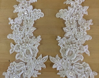 White Beaded Corded Appliques