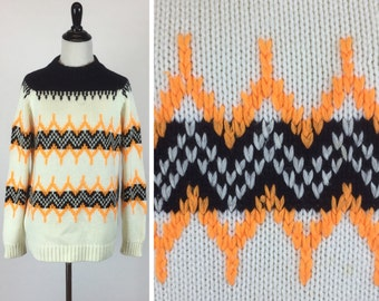 Black and Orange Sweater - Zig Zag White Stripes - Bright Orange Chevron - Fall Autumn Halloween - Warm Vintage 60s Sweater - Unisex Sweater