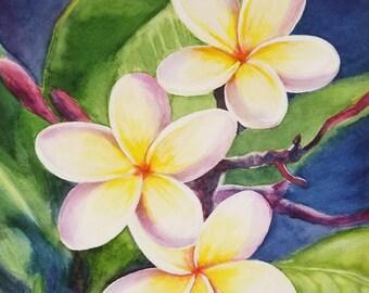 Plumeria Original Watercolor Painting,  Tropical Flower Painting, Hawaiian Flower Painting, Handmade ART,  Framed painting, Home Decor