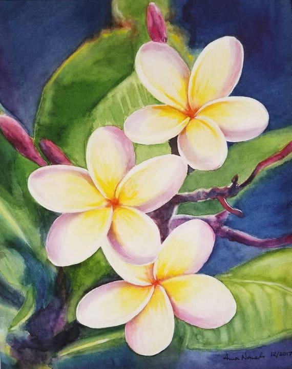 Plumeria Original Watercolor Painting Tropical Flower
