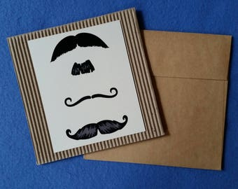 Mustache Handmade Square Cardboard Card, mustaches moustache blank greeting card, corrugated cardboard