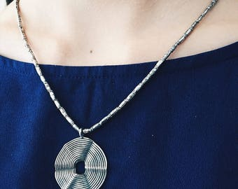 Silver Necklace, Silver Disc Necklace, Sterling Necklace, Minimalist Necklace, Simple Necklace, Delicate Necklace, Silver Pendant Necklace