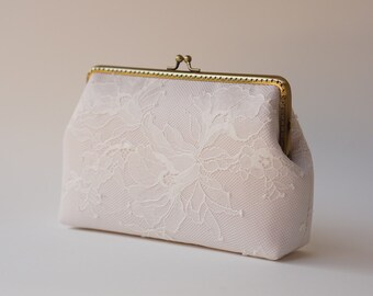 Pale Pink Chantilly Lace Clutch / Bridal Clutch Purse / Bridemaid Clutch / Wedding clutch / Monogram Purse