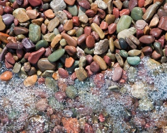 Rainbow Rocks, Montana Lake Rocks, Perfect for Pisces, Along the Shore, Photograph or Greeting card