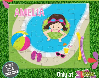 At the Pool Puzzle - Personalized 8 x 10 Puzzle - Personalized Name Puzzle - Personalized Children Puzzle - 20 pieces Puzzle - Summer Party