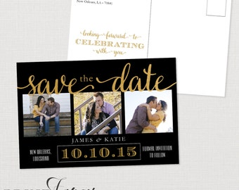 Black, White and Gold Save the Date Postcard - Printable