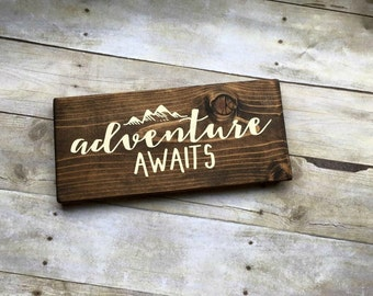 Wood Sign, Adventure Awaits Sign, Wanderlust Sign, Travel Sign, Adventure  Sign, Explorer Sign, Adventure Wood Sign, Travel Gift, Tiny House