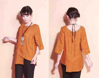 Ethnic Style Asymmetrical Linen Tunic with Pleats/ 28 Colors/ RAMIES