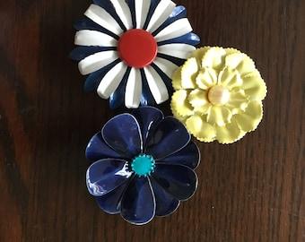 Patriotic Bouquet of 1960s enameled flower pins