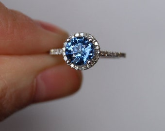 Round blue sapphire ring. Engagement ring. Diamond ring. 14k white gold engagement ring. Round Halo engagement ring by Eidelprecious
